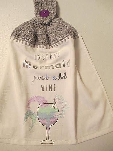 Just Add Wine Kitchen Towel with Soft Grey Metallic Yarn Crocheted Instant Mermaid