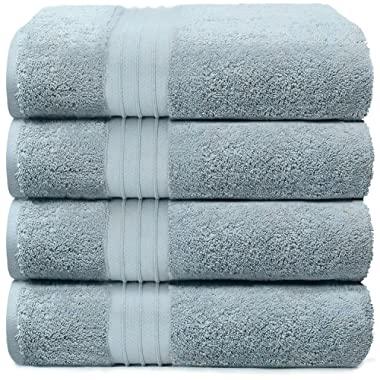 4-Piece Bath Towels Set for Bathroom, Spa & Hotel Quality | 100% Cotton Turkish Towels | Absorbent, Soft, and Eco-Friendly (Light Blue)