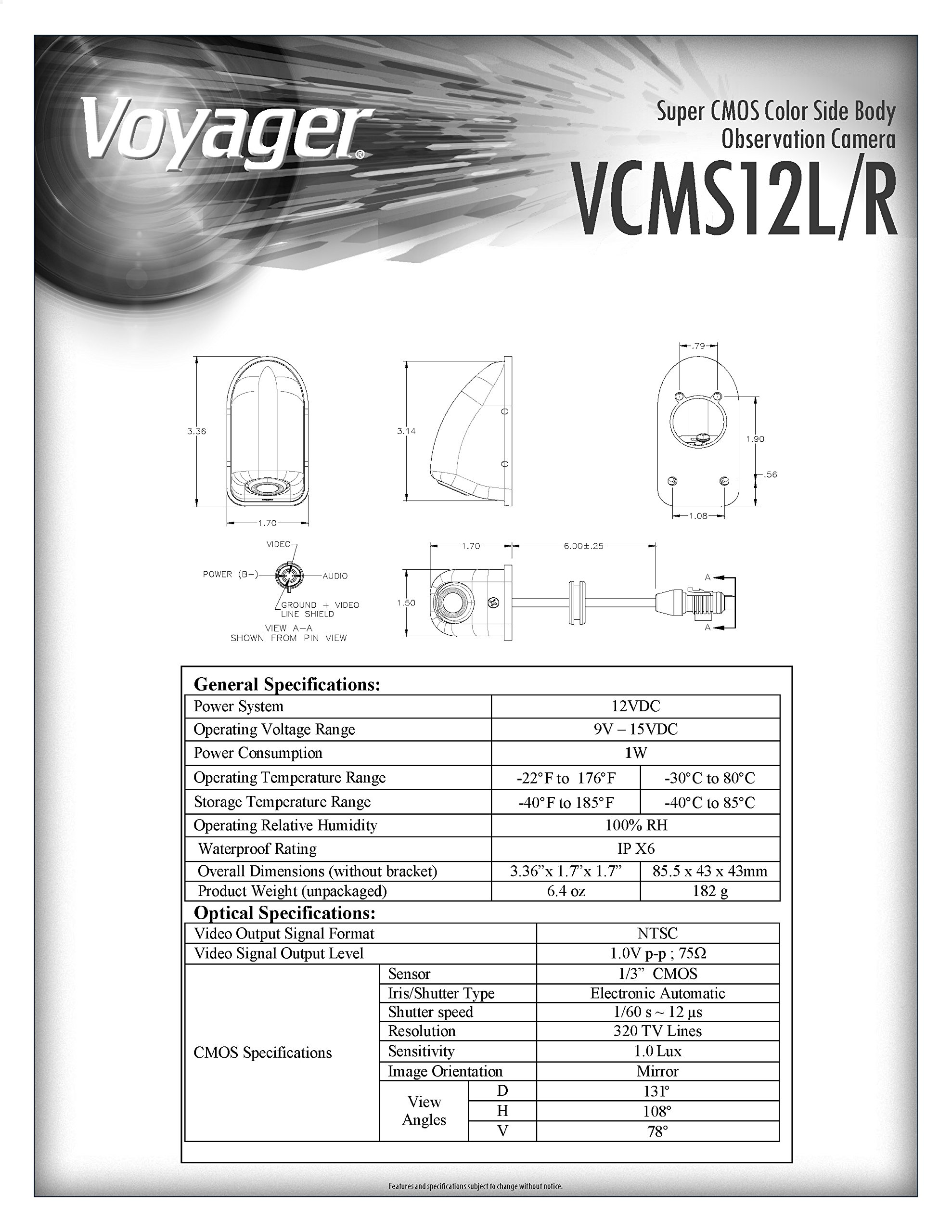 VOYAGER VCMS12LWTR Model VCMS12 Color Left Side CMOS Camera, White Housing, Replaces VCMS36 L/R/T and VCCSID L/R