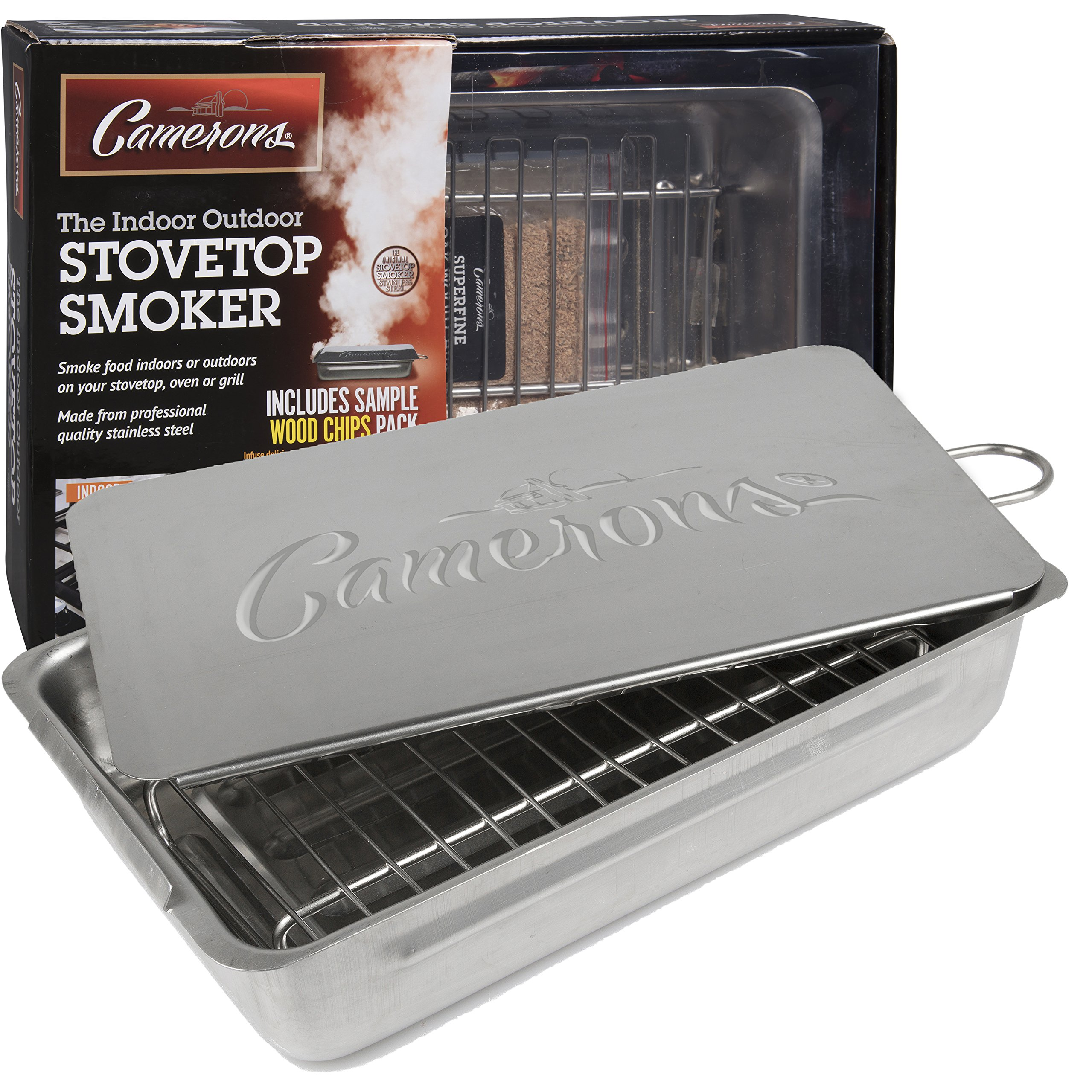 Indoor Outdoor Stovetop Smoker - Heavy Duty Stainless Steel 11'' Smoker with Wood Chips Included by Camerons Products