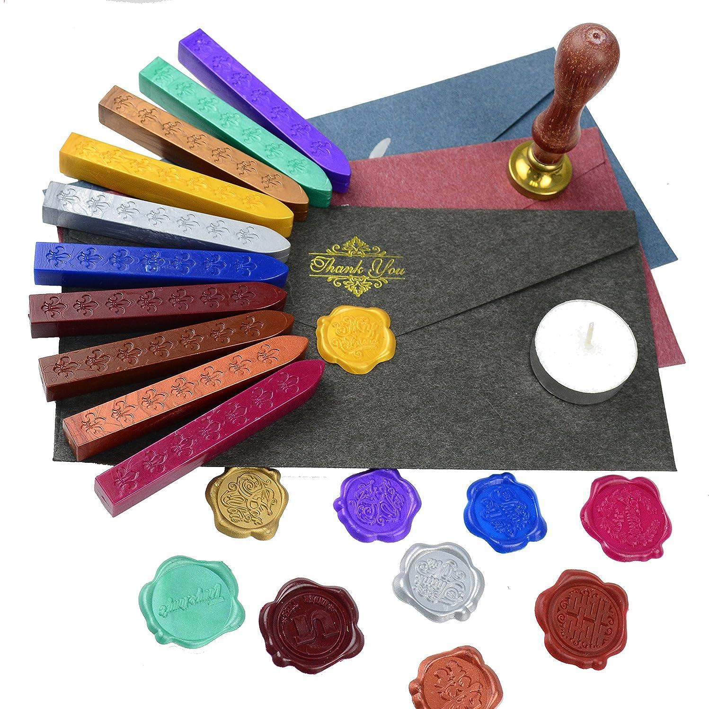 Stempel Umschlag Siegel Bronze Makhry 11pcs Retro Sea Wax Set mit 10 Dichtungsaufkleber ohne Dochte und 1 Schmelzl/öffel f/ür die Einladung