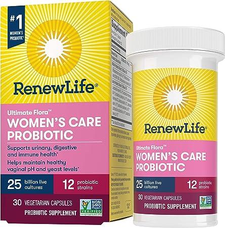Renew Life #1 Women's Probiotics 25 Billion CFU Guaranteed, 12 Strains, Shelf Stable, Gluten Dairy & Soy Free, 30 Capsules, Feminine Health, Ultimate Flora Women's Care-60 Day Money Back Guarantee
