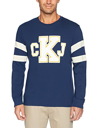 9a0c114b13df Calvin Klein Men's Long T-Shirt Ckj Logo with Sleeve Stripe | Amazon.com