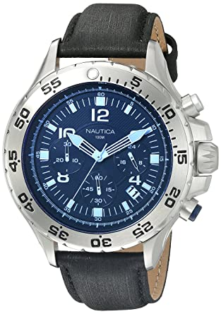 b84384af68f Image Unavailable. Image not available for. Color  Nautica Men s NAD19536G NST  Chrono Blue ...