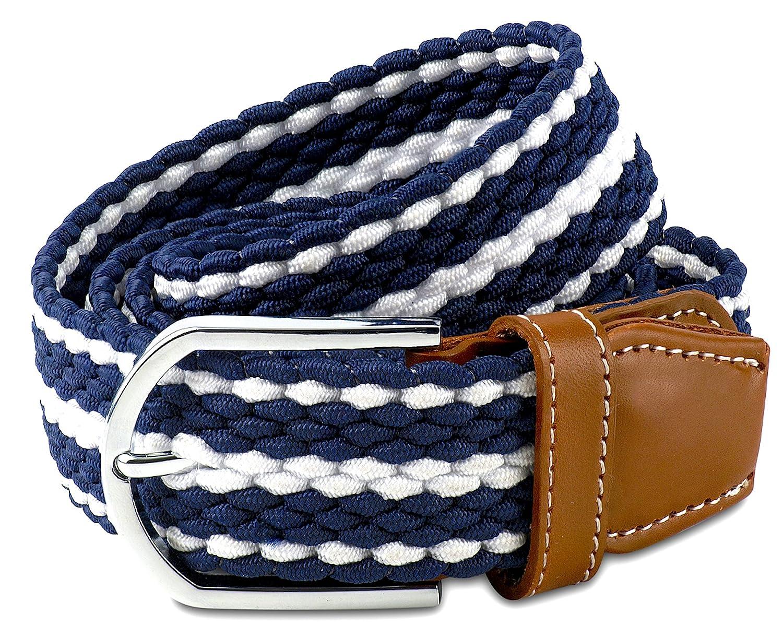 Scott Allan Men's Braided Stretch Cord Dress Belt - Navy Blue/White, Size 38 Scott Allan Collection FK9044-A38