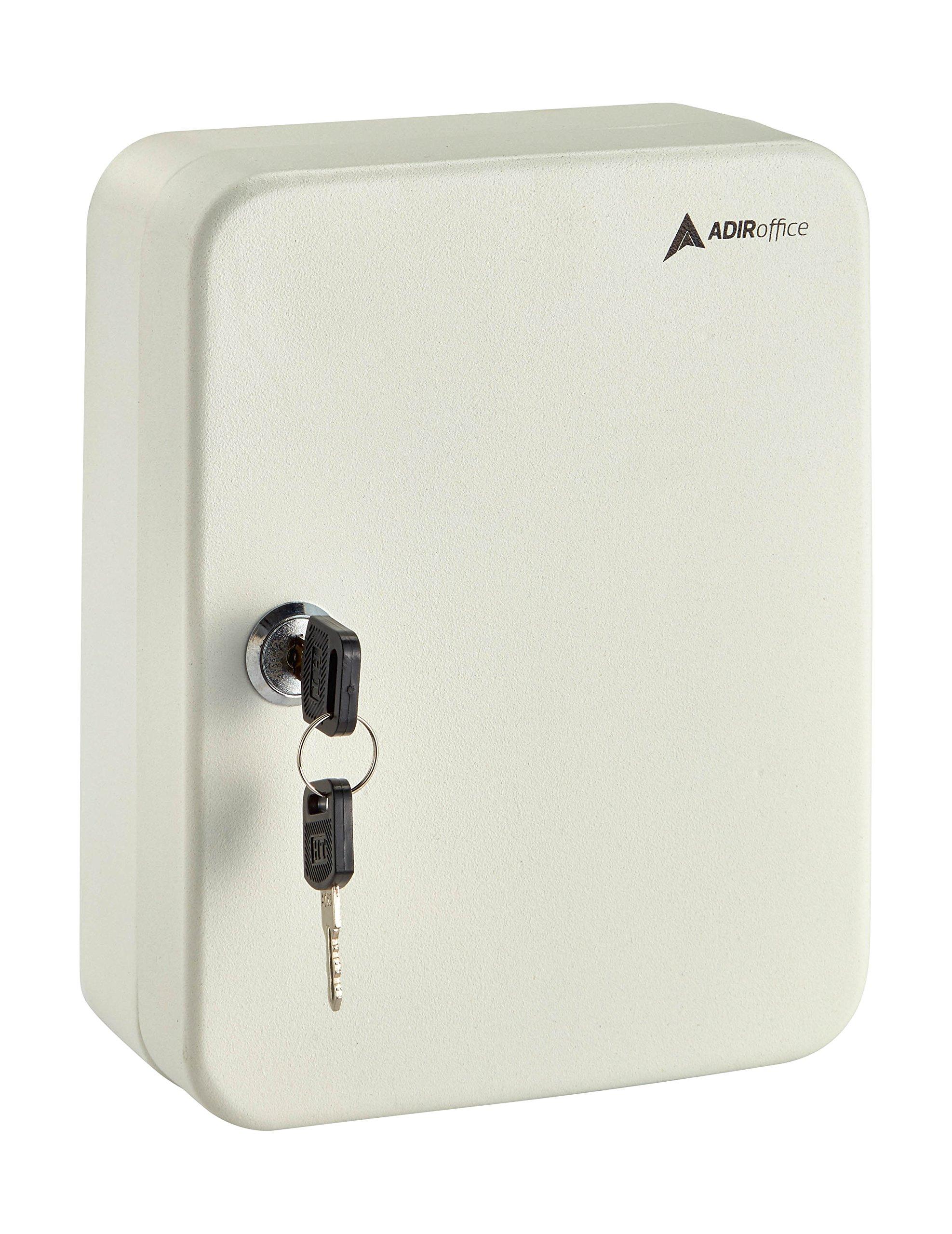 AdirOffice Key Steel Security Sorage Holder Cabinet Valet Lock Box (30 Key, White)