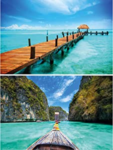GREAT ART Set of 2 XXL Posters – Boat Pier – Sea & Bay Berth Coast Ocean Beach Summer Thailand Longboat Tropical Sun Wall Picture Decoration Photo Poster (140 x 100cm)