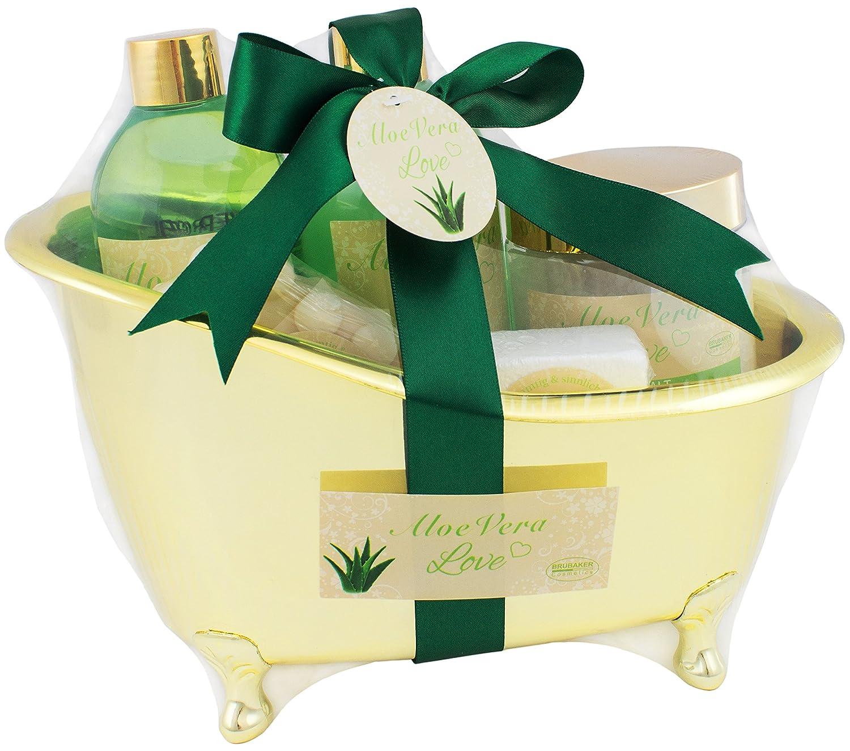 BRUBAKER 6 Pcs Gift Set 'Aloe Vera Love' Beauty Spa Set With Golden Bathtub, Bath Fizzer, Bubble Bath, Shower Gel, Bath Salt, Soap