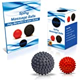 3KM Supreme Quality Spiky Stress Relief Massage Balls - Relieve Tension - Improve Blood Circulation - Reflexology Porcupine Ball - 3.1 inch or 2 pack(2.75 inch & 3.5 inch), FREE eBook