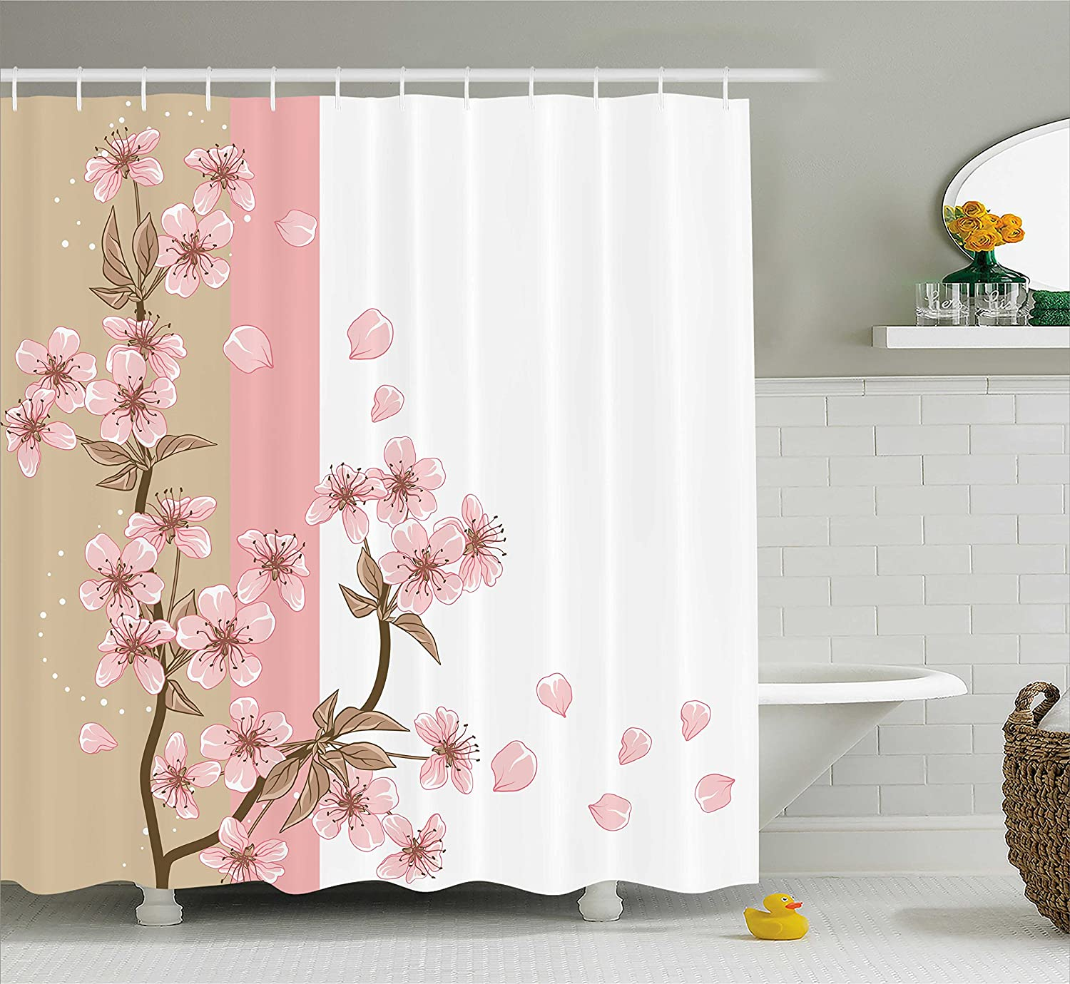 70 Inches Fabric Bathroom Decor Set with Hooks Ambesonne Modern Shower Curtain Cute Cat Faces with Dotted Whiskers Kittens Animals Kids Nursery Theme Coral Peach