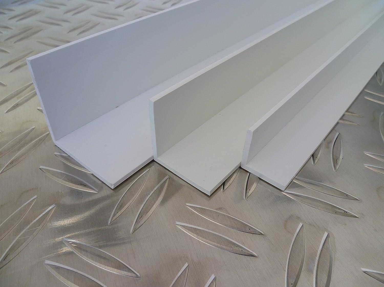 B/&T Metall Kunststoffwinkel Hart PVC wei/ß 60x60x2,5 mm L/änge 2 mtr