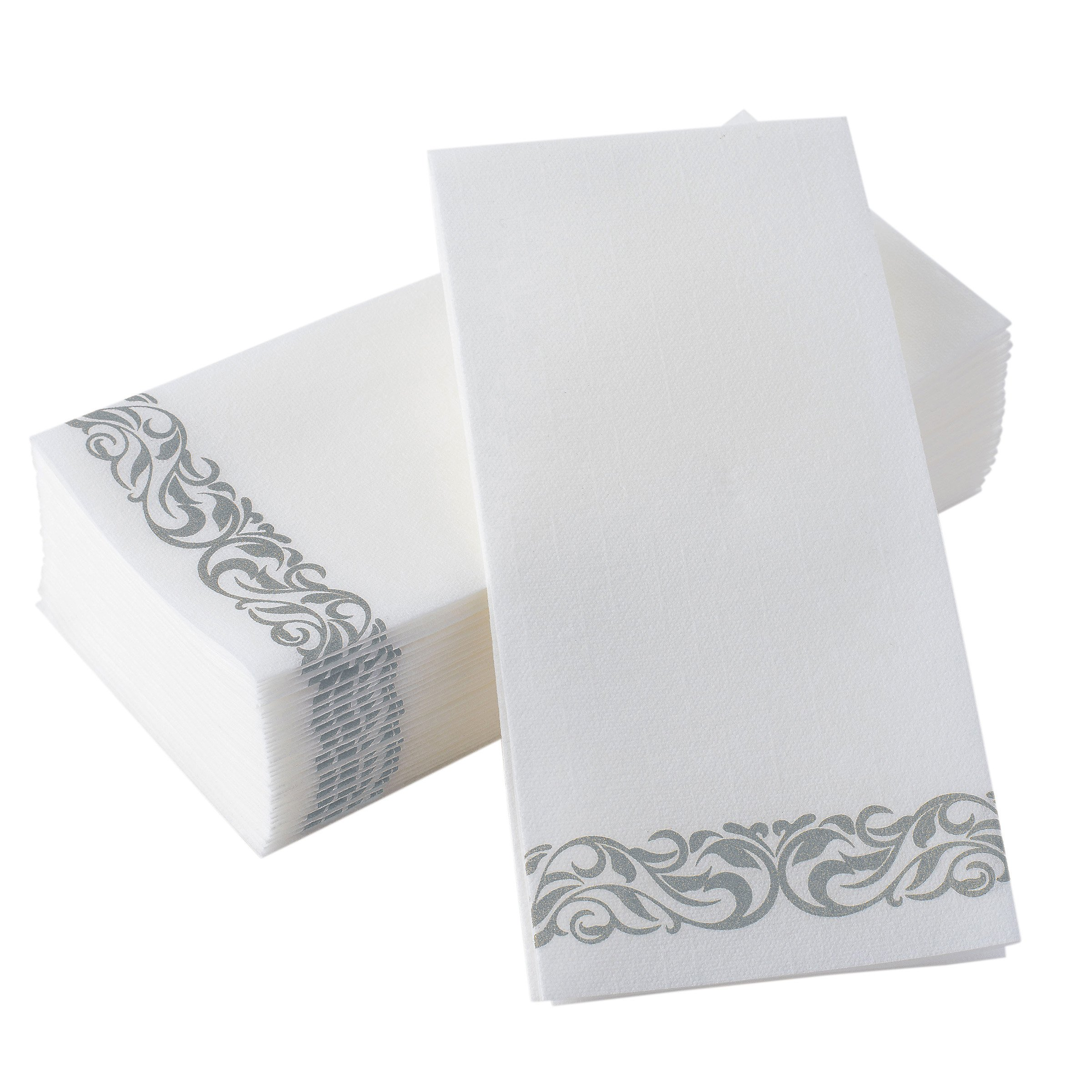 Bloomingoods Disposable Linen-Feel Guest Towels - Decorative White Hand Towels, Silver Floral Cloth-Like Paper Napkins - Case of 1000 (Bulk Packaging)