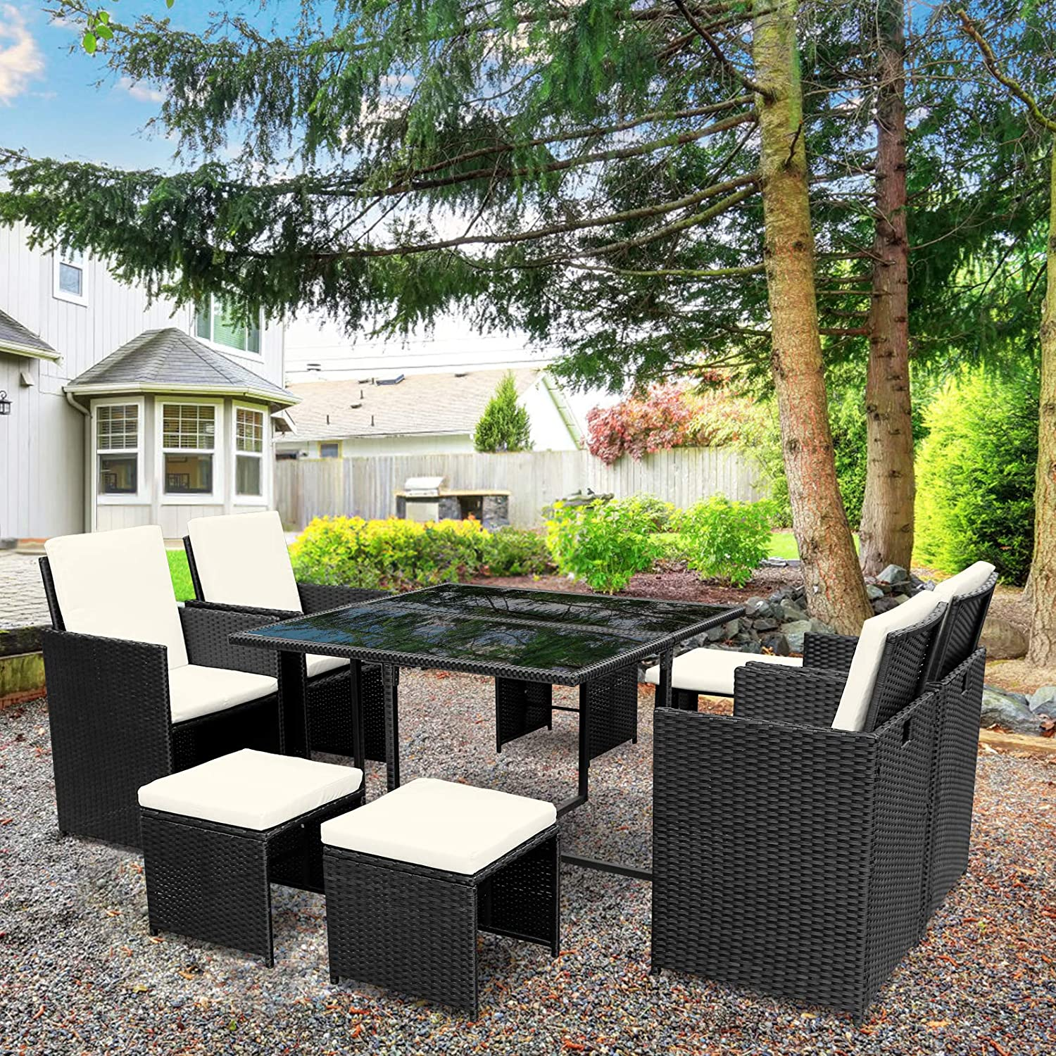 Viewee 9 Pieces Patio Dining Set | Patio Furniture | Rattan Wicker Chairs and Tempered Glass Table with Cushions | Conversation Sets | Used at Garden, Lawn, Balcony | Black
