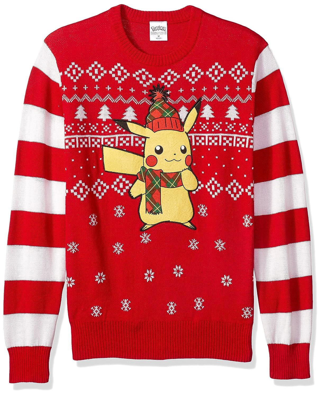 Amazon.com: Pokemon Men's Ugly Christmas Sweater, Red/Black, Large ...