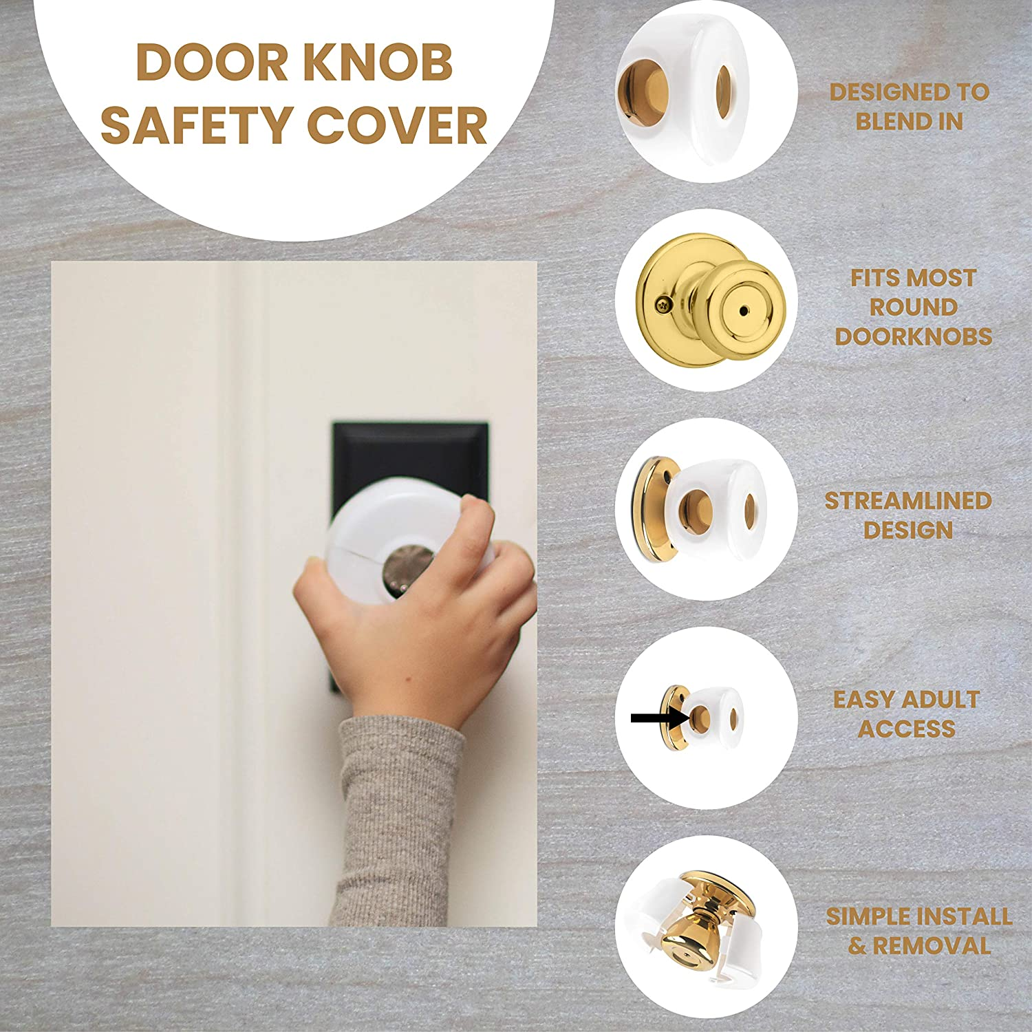 Beautifully Designed To Blend With Doorknob Color Bronze Door Knob Safety Cover Choose 1 of 4 Colors Available Toddler and Baby Safety All Brown - Child Proof Doors 4 Pack By UnaBaby