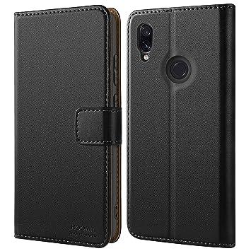 HOOMIL Funda Xiaomi Redmi Note 7, Funda de Cuero PU Premium Carcasa Xiaomi Redmi Note 7/Note 7 Pro/Note 7S (Negro)