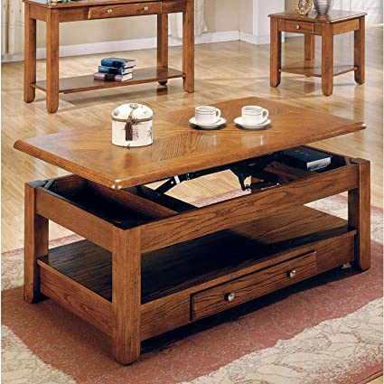 Bon LIFT TOP COFFEE TABLE OAK WITH STORAGE DRAWERS AND BOTTOM SHELF   Bring  Style And Function