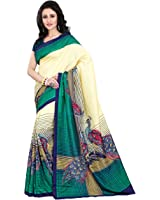 Miraan Women's Kora Silk Saree With Blouse Piece (Vi1433A,Multicolor,Free Size)