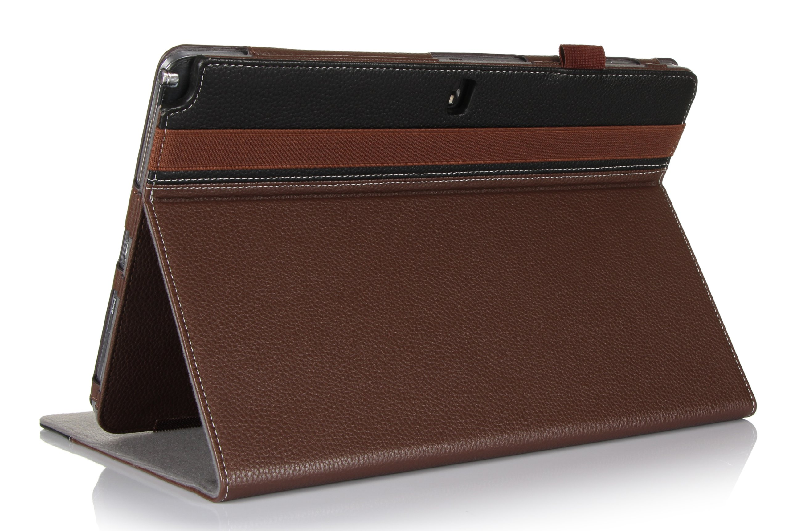 ProCase Samsung Galaxy PRO 12.2 Case (Galaxy Tab PRO 12.2 Inch and Note PRO 12.2), Built-in Stand with Multiple viewing Angles, bonus Stylus Pen included (Brown/Black)