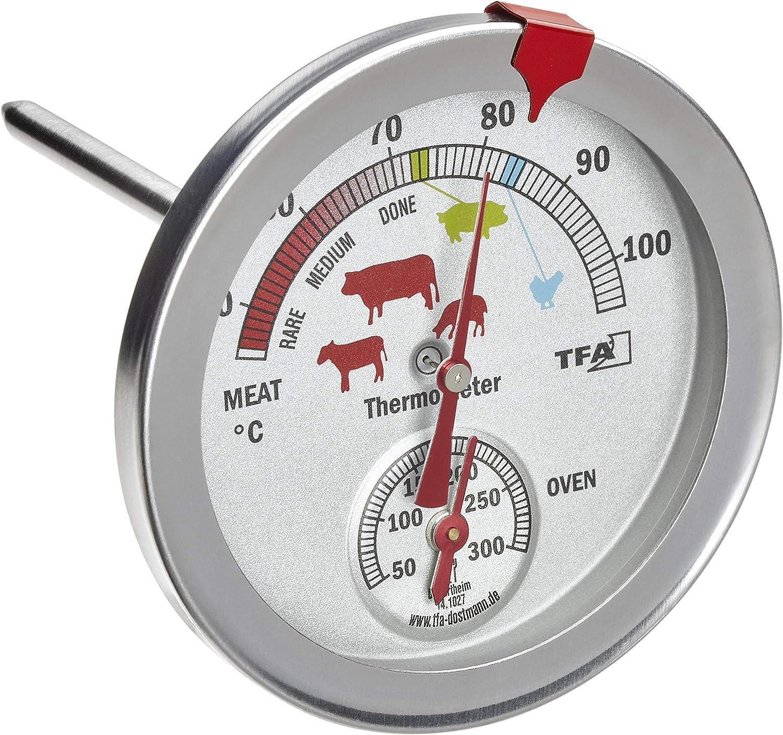 TFA Dostmann 14.1027 Termómetro analógico de horno de acero inoxidable resistente al calor con diferentes niveles de cocción para medir la temperatura central, color plateado