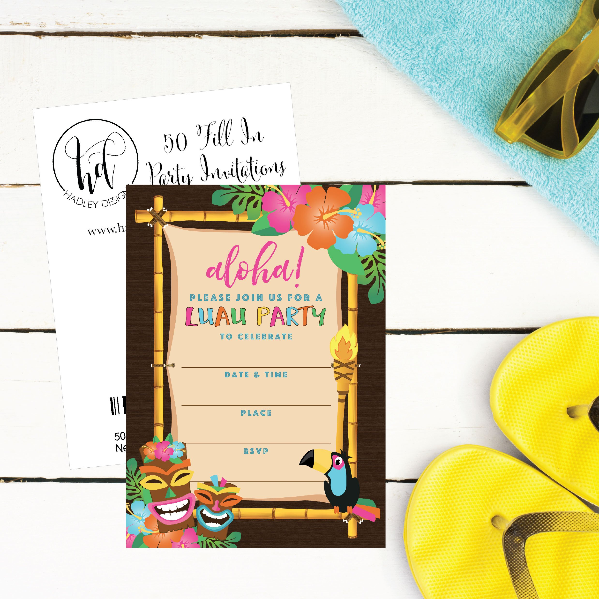 50 Tiki Hawaiian Luau Summer Swim Pool Party Invitations for Children, Kids, Teens & Adults, Flower Summertime Birthday Cookout Invitation Cards, Boys & Girls Floral Family Reunion BBQ Fill In Invites by Hadley Designs (Image #2)