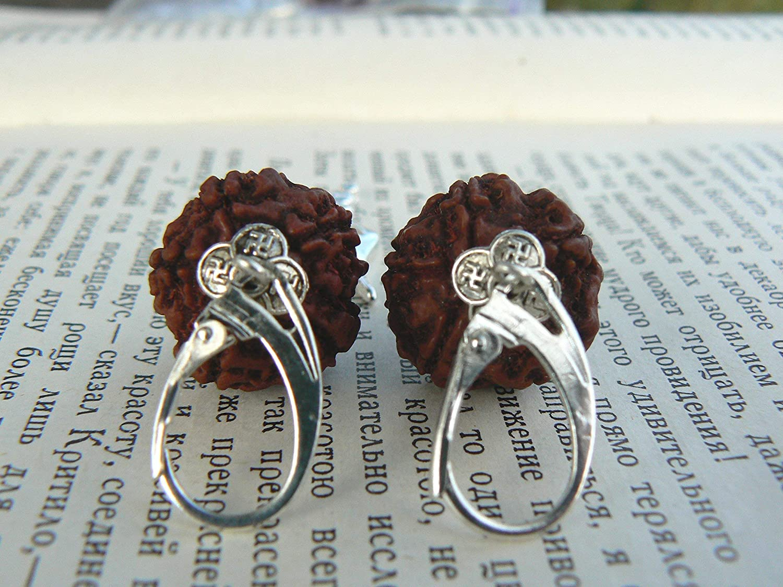 c1395d863 Amazon.com: Yoga Earrings with Rudraksha Seeds and Shiva Trishul Charm:  Handmade