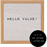 Felt Letter Board 10x10 with 290 Letters & Symbols + Bag (White)