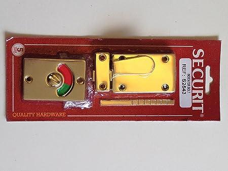 Bathroom Wc Door Indicator Lock Bolt Brass Vacant Engaged Amazon Co