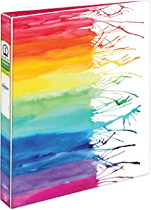 "Avery + Amy Tangerine Designer Collection Binder, 1"" Round Rings, 175-Sheet Capacity, Watercolor Rainbow (28322)"