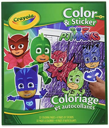 Amazon Com Crayola Pj Masks Color And Sticker Book Office Products