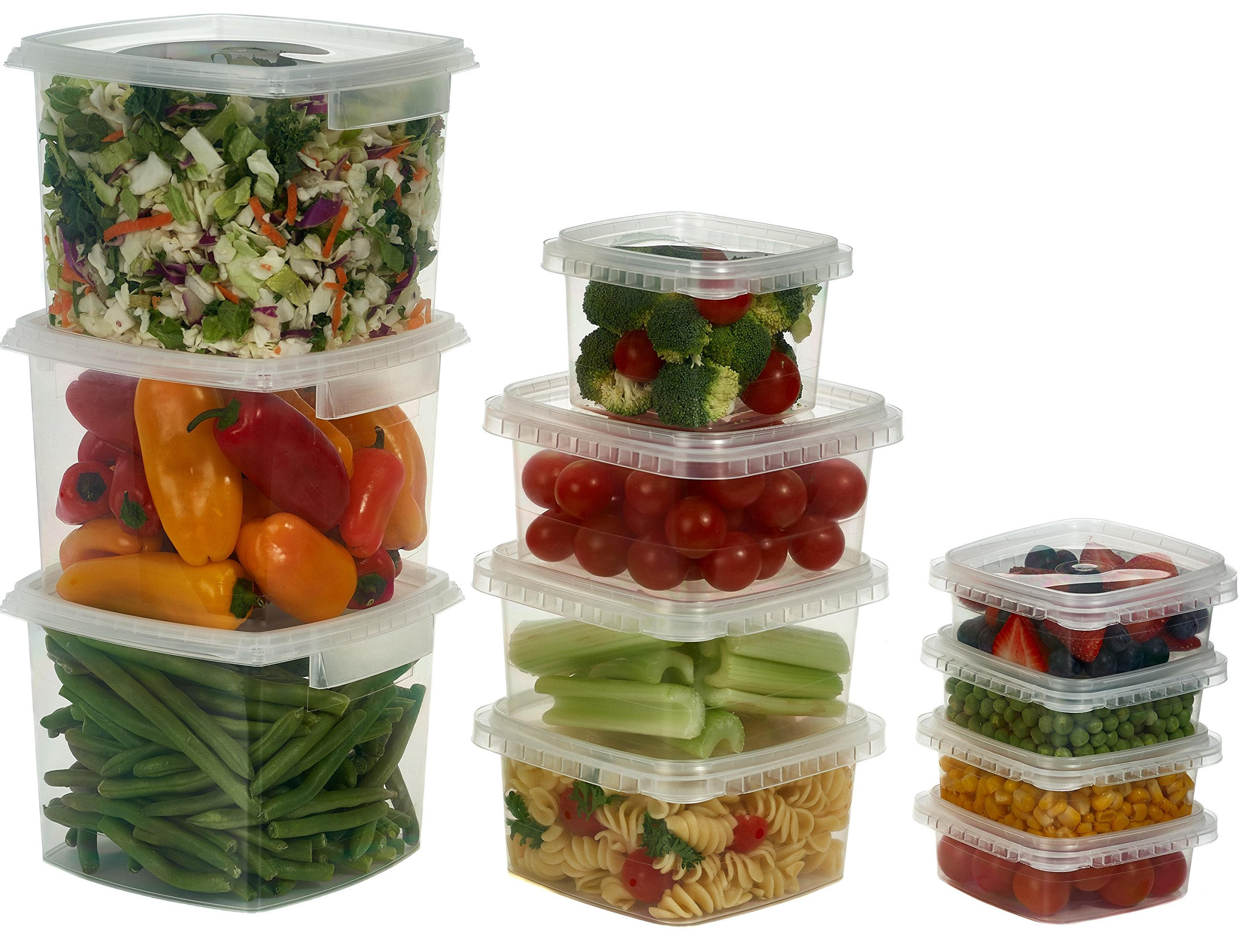 Decony Deli Food Storage Containers with Lids Temper Evident Leak-Proof Ultra Clear Square Space Saver and Stackable Shape Microwavable and Freezable and Dishwasher Safe, 64 oz, Set of 10