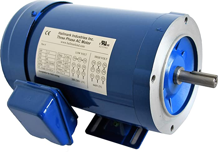 Hallmark Industries MA0515E AC Motor, 1.5 hp, 1725 RPM, 3PH/60 hz, 208-230/460V AC, 56C/TEFC, with Foot, SF 1.15, Insul F, Inverter Duty, Steel (Pack of 1)