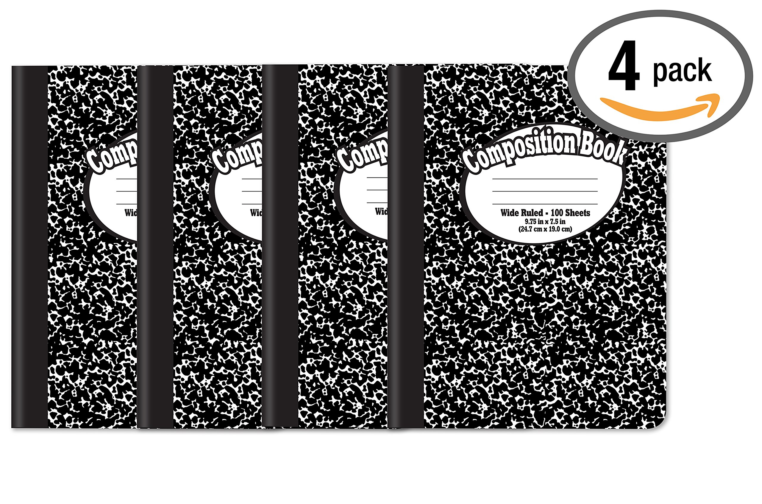 Composition Book Notebook - Hardcover, Wide Ruled (11/32-inch), 100 Sheet, One Subject, 9.75'' x 7.5'', Black Cover-4 Pack
