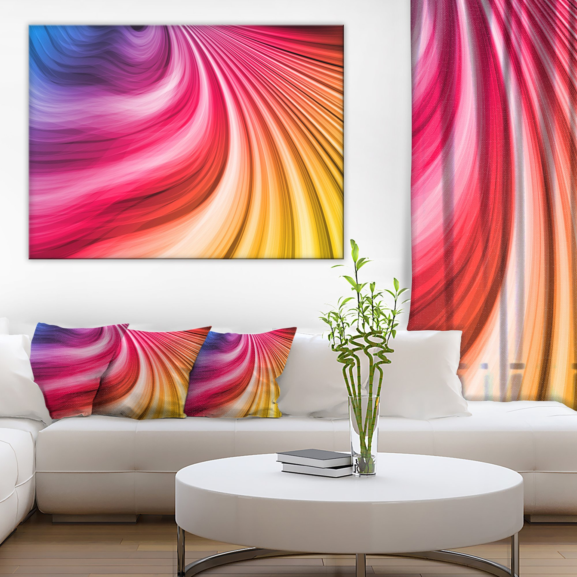 Abstract Colorful Waves Contemporary Canvas Art Print