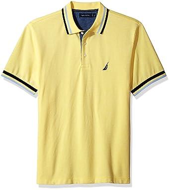 Nautica Hombres K74214 Manga Corta Camisa Polo - Amarillo - Small ...