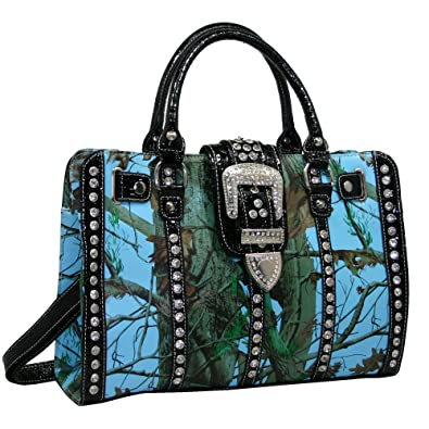 95f5ff4ccef6 Amazon.com  Western Camo Rhinestone Buckle Accent Concealed Carry Gun  Satchel Bag - Blue Cam  Shoes