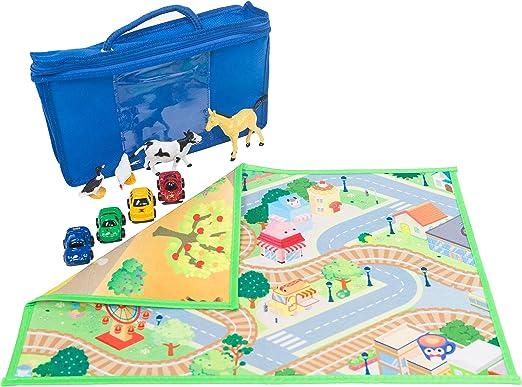 HOK Tapete de Juego Doble Cara To-Go con 4 Autos 4 Animales y Funda de Tela: Amazon.es: Juguetes y juegos