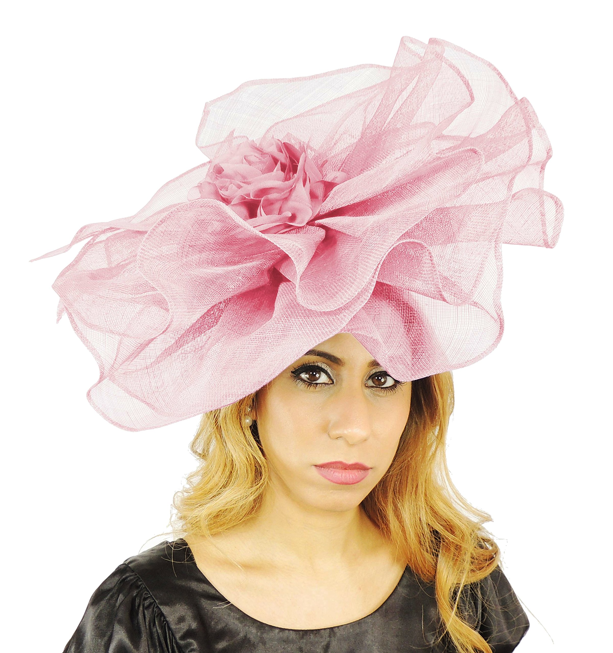 Hats By Cressida Gorgeous Amelia Candy Pink Large Sinamay With Flower Ascot/Derby Fascinator Hat - With Headband
