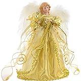 WeRChristmas - Puntale per albero di Natale, a forma di angelo, 30 cm, colore: oro