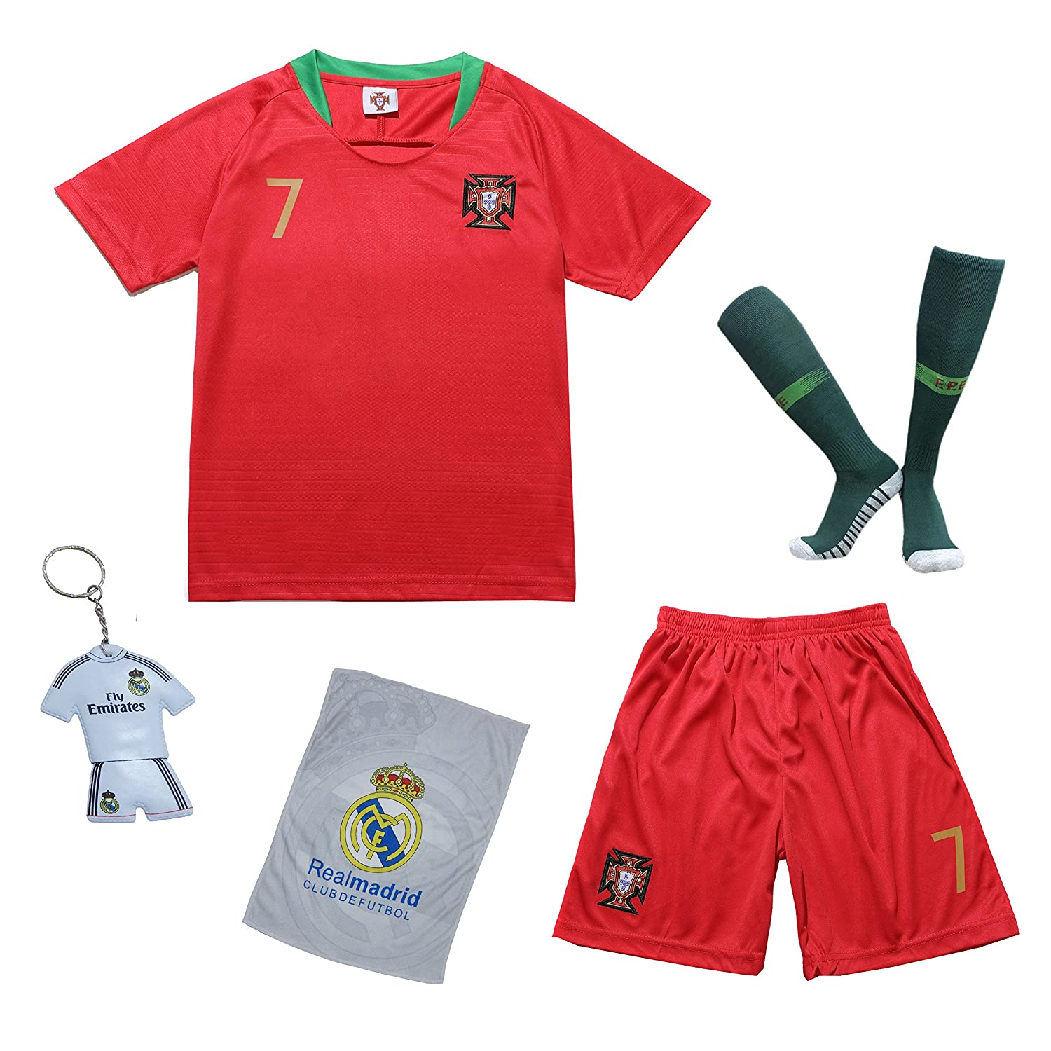 cea400e65 Amazon.com : KID BOX 2018 Portugal Cristiano Ronaldo #7 Home Red Kids Soccer  Football Jersey Gift Set Youth Sizes : Sports & Outdoors