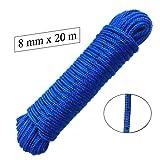Seil 8 mm 20 m -- Polypropylenseil PP, blau / schwarz, Festmacherleine, Allzweckseil, Strick, Leine, Flechtleine - Bruchlast: 700kg, 20m x 8mm