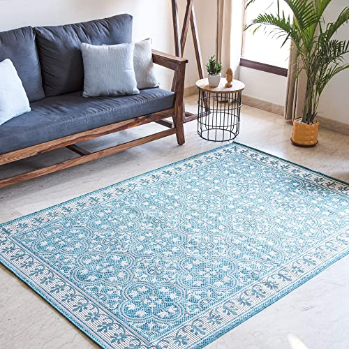 "MH London Jasmine Indoor Outdoor Area Rug | Latex Free Polypropylene Quick Dry Throw Rugs | 7'10"" x 9'10"" Ocean Floorcover 
