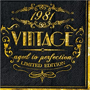 Crisky Black Gold Vintage 1981 Cocktail Napkins for Men 40th Birthday Decorations Beverage Dessert Cake Table Decorations Party Supplies50 Count, 3-ply