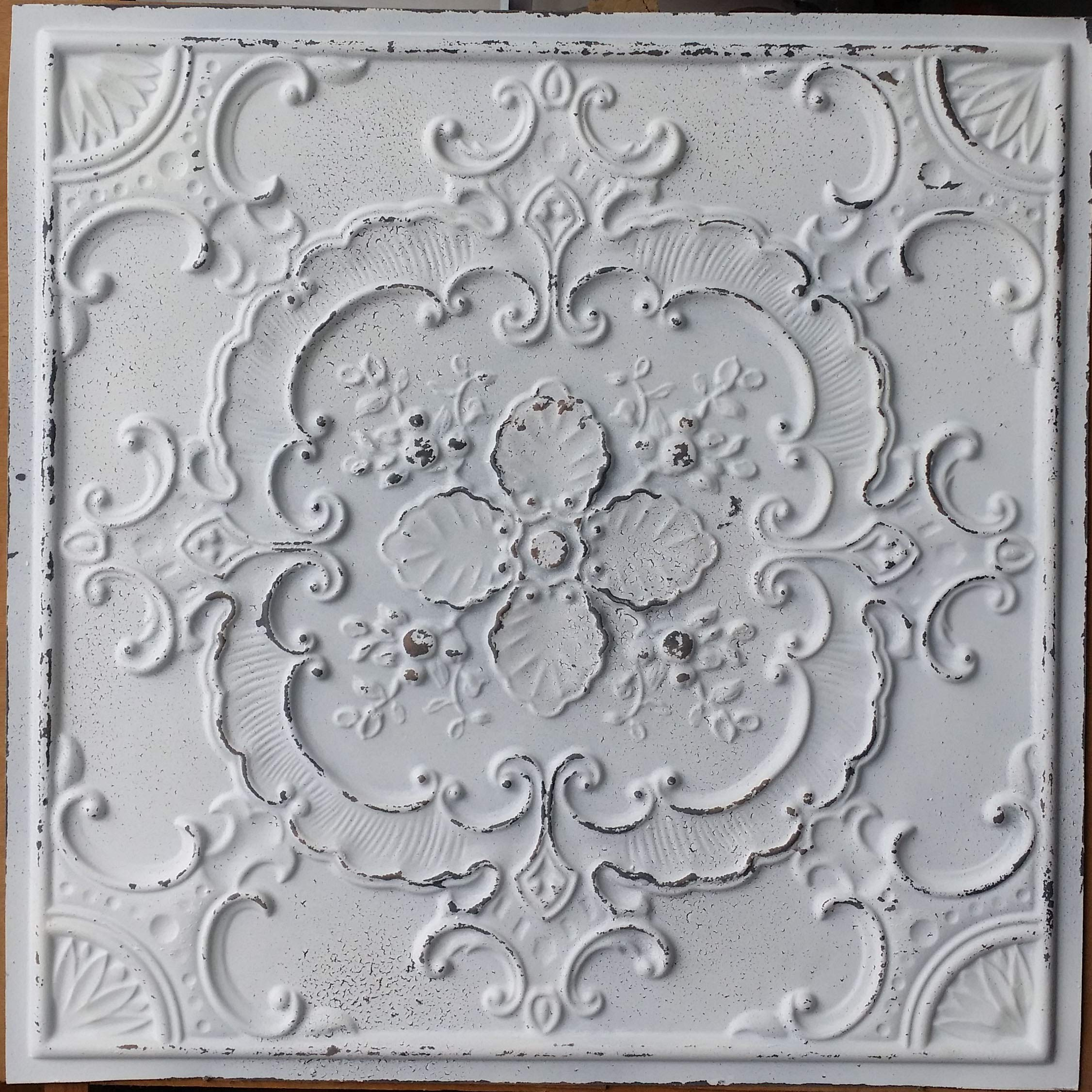 PLASTDECOR Ceiling Tile Faux tin Painted Peeling Black White Cafe Decor Ceiling Panels PL19 Pack of 10pcs by PLASTDECOR