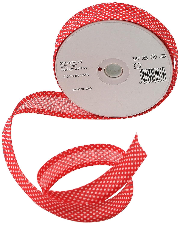 Inastri - Nastro sbieco di cotone 25/5/ 5 mm, rosso a pois bianchi 267 COL-267