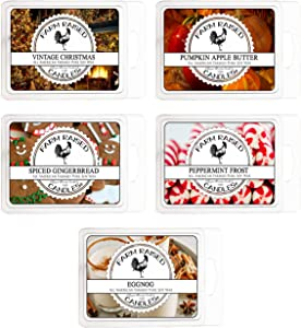 Cool Weather Variety Assortment 5 Pack (15 Ounces). USA Hand-Made Scented Wax Melts.100% All Natural Farm Raised Candles Soy Wax Made Paraffin-Free. Apple Butter,Egg Nog,Vintage Christmas,Gingerbread