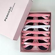 Bride and Bridesmaid Sunglasses - Set of 6 (White & Pink) Wayfarer Style | Bridesmaid Gifts + Bachelorette Gifts + Bridesmaid Proposal Box Gifts + Bridal Party Gifts + Bachelorette Party Gifts