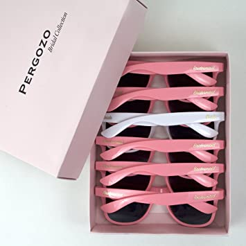 5f6ecfb52 Bride and Bridesmaid Sunglasses - Set of 6 (White & Pink) Wayfarer Style