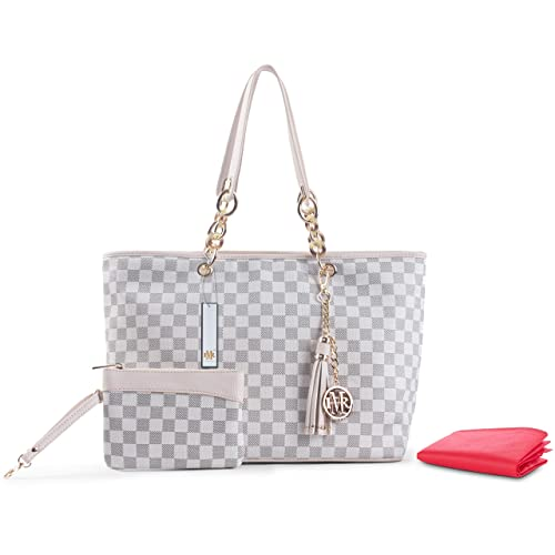 High Quality Rola & Mo ® Madison Brown Damier/Beige Damier/Monogram Tote Bags Handbags Shoulder Bags Shopper   With Free Matching Purses by Rola & Mo