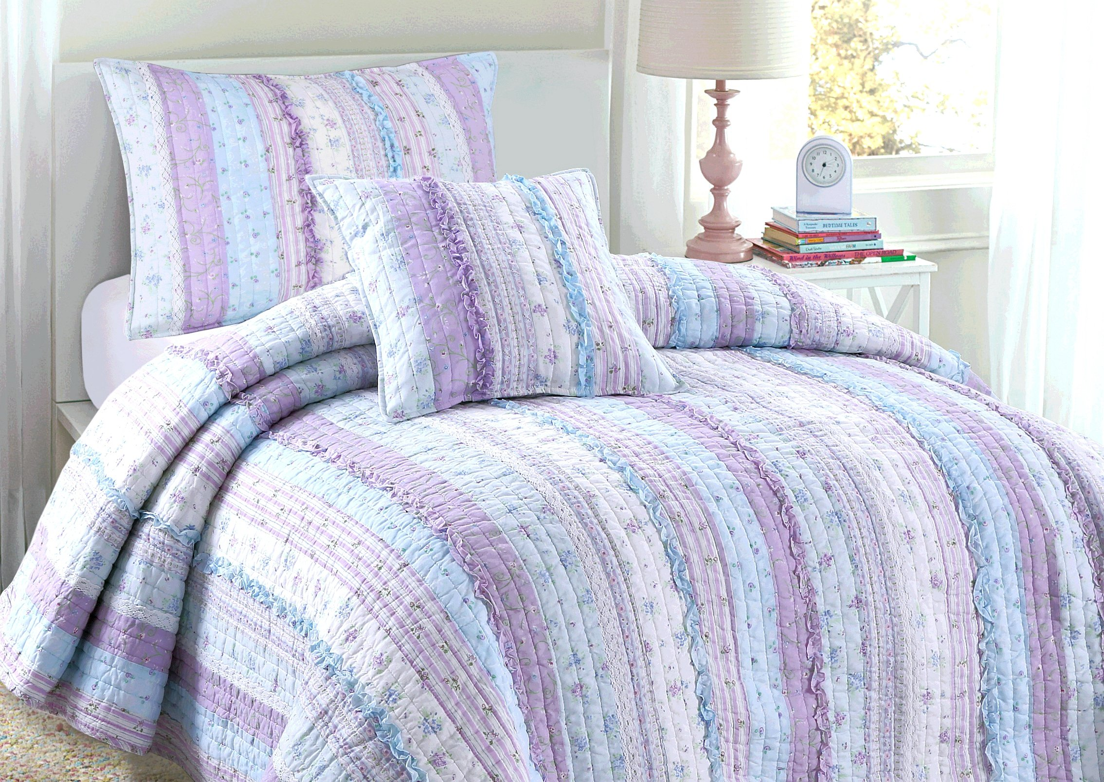 Cozy Line Home Fashions Provence Romantic Chic Lace Light Lavender Orchid Blue Flower Print Stripe Cotton 3D Bedding Quilt Set, Reversible Coverlet, Bedspread, Gifts for Girls Women (King - 3 Piece)
